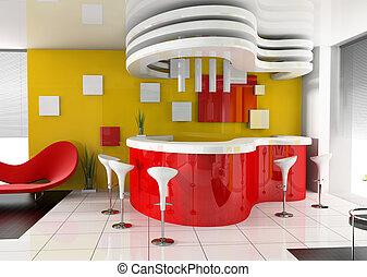 hotel, nowoczesny, czerwony, przyjęcie