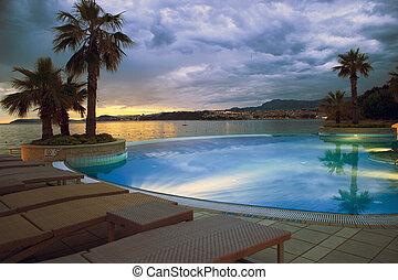 hotel, ocaso, dividir, piscina