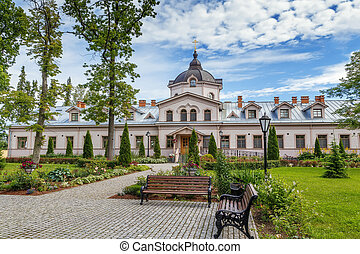 Hotel on Valaam island, Russia - Hotel and square in front...
