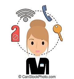 hotel, ontwerp, receptionist, dienst