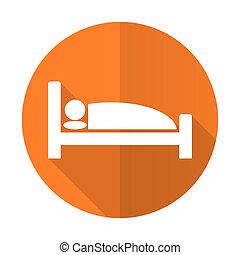 hotel orange flat icon bed sign