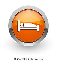 hotel orange glossy web icon