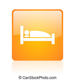 hotel orange square glossy web icon