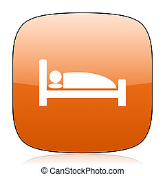 hotel orange square web design glossy icon
