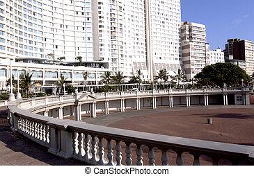 hotel overlooking amphitheatre on Durban's beachfront golden...