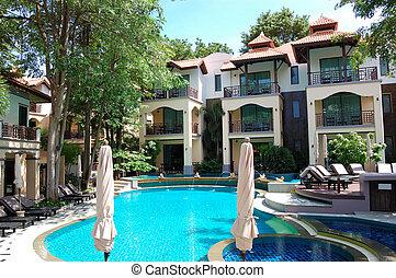 hotel, pattaya, népszerű, thaiföld, pocsolya, úszás
