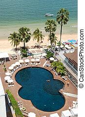 hotel, pattaya, népszerű, thaiföld, tengerpart, pocsolya, úszás