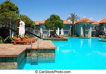 hotel, pavo, piscina, chalets, popular, natación, antalya, ...