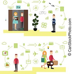 Hotel people vector illustration in flat style