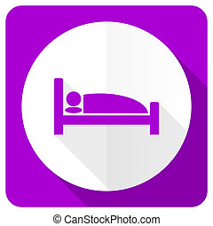 hotel pink flat icon bed sign