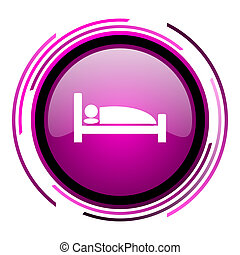 Hotel pink glossy web icon isolated on white background