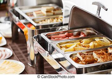 hotel., platos, papas, huevos, caliente, revuelto, otro, ...