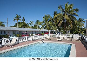 Hotel pool in Key West, Florida, USA