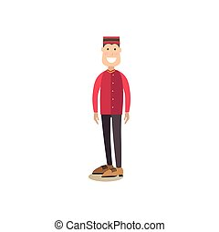 Hotel porter concept vector illustration in flat style.