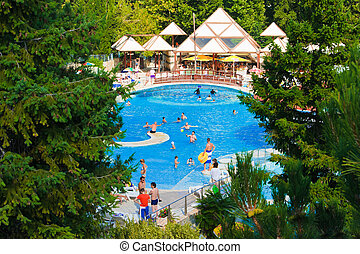hotel, -, prázdniny, vodopád, grafické pozadí, kaluž