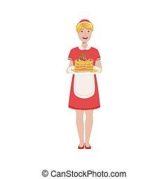 Hotel Professional Maid Serving Breakfast Illustration
