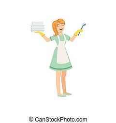 Hotel Professional Maid Washing Dishes Illustration