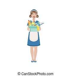 Hotel Professional Maid With Bucket Of Household Chemicals Illustration