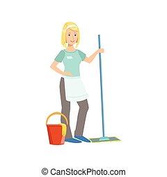 M dchen putzen boden seine knees illustration for Boden clipart