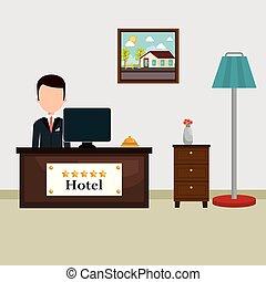hotel, recepcionista, trabajando, avatar