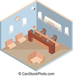 Hotel reception interior in vector isometric style. Illustration in flat 3d design. Hotel lobby room
