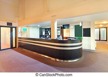 Interior of a hotel, architectural design of a reception.