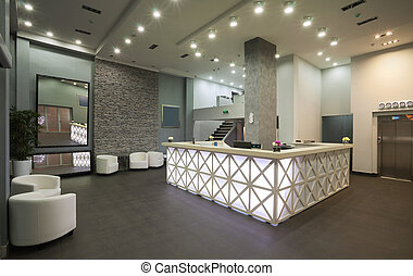 Hotel reception - Interior of a hotel reception, modern ...