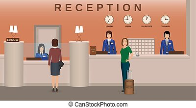 Hotel reception interior with employee and guests. Concierge...
