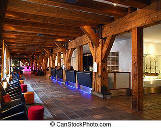 Hotel reception lobby area