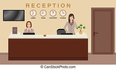 Vectorby GenerationClash0 0 Hotel Reception Service Business Office Desk Concept Two