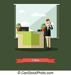 Hotel reception vector illustration in flat style