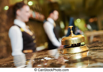 Hotel reception with bell - Modern luxury hotel reception ...