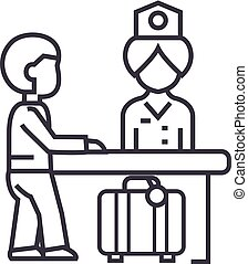 hotel reception,receptionist at the table vector line icon, sign, illustration on background, editable strokes