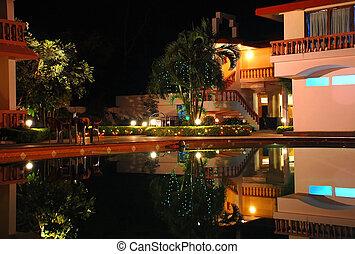 Hotel Recreation Area at Night
