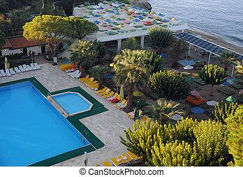 Recreation area of the hotel on the Aegean sea coast n Turkey