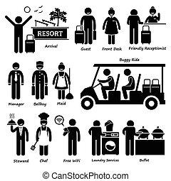hotel recurso, trabalhador, vila, turista