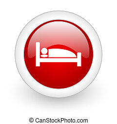 hotel red circle glossy web icon on white background