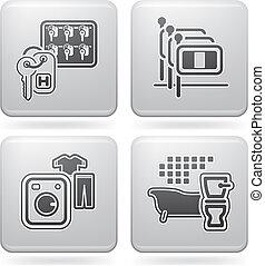 hotel, relacionado, iconos