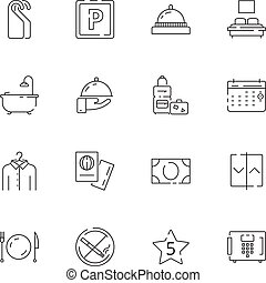 Hotel related icons. Parking restaurant separated bed wifi free tv hotel signs vector thin line