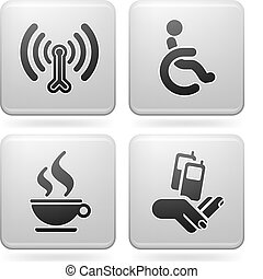 Hotel Related Icons - Various hotel icons: Wireless LAN with...