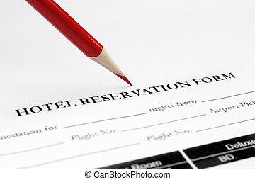 hotel, reservación, forma