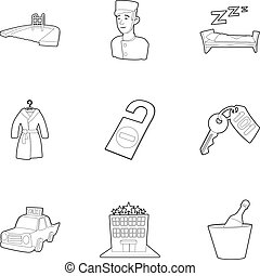 Hotel resort icons set, outline style