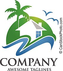 hotel resort logo - modern green real estate, hotel, village...