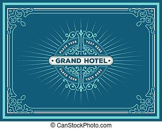 hotel, restaurant, product, deco, kunst, juwelen, spa, frame, tags., illustratie, etiket, vector, hulpbron, ontwerp, anderen