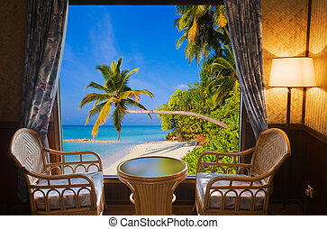 Hotel room and tropical landscape - vacation concept ...