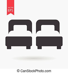 Hotel Room. Bed Icon vector. Flat design. Two Bed sign isolated on white background.
