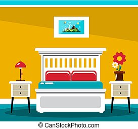 Hotel Room Bed. Vector Flat Design Interior Illustration.