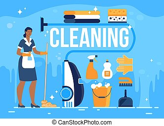 Hotel Room Cleaning Service Flat Vector Banner