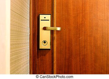 Hotel room door with electronic security access