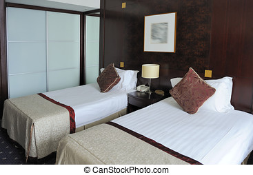 hotel room - Hotel room with two clean single beds